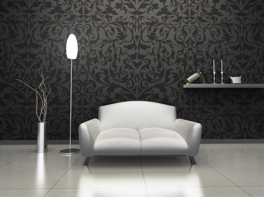 czarno-biała fototapeta z ornamentem roślinnym